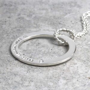 925 Sterling Silver Personalised Necklace Hand Stamped Unity Hoop Necklace